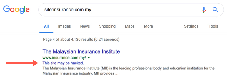 Site Hacked Alert on Google SERP
